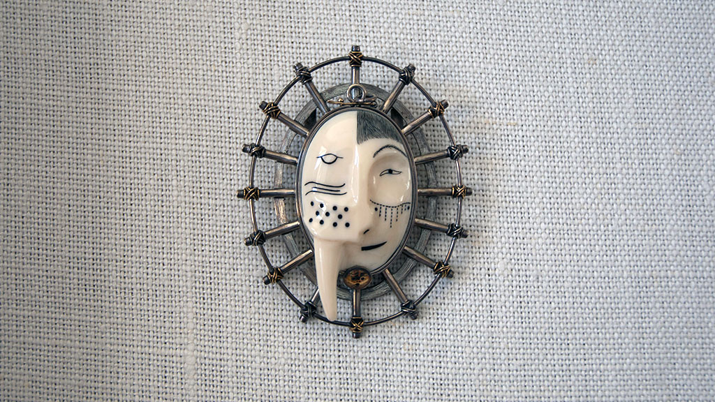 Denise Wallace, Walrus-Man Bolo Pendant, 1993, Craft in America
