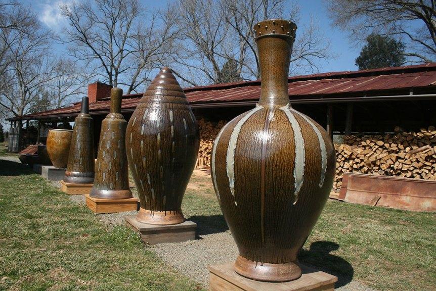 Mark Hewitt Pottery, outdoor turned clay sculptures
