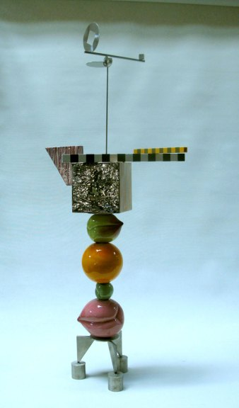 Peter Shire, Stacked Peaches, 2006. Teapot Glazed earthenware slab and steel