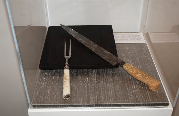 Bill Burke, 300 mm. Dragon's Breath Damascus Sujihiki Knife & Damascus Fork with Case, 2012. Damascus steel and musk ox horn Case: Leopard wood and curly maple