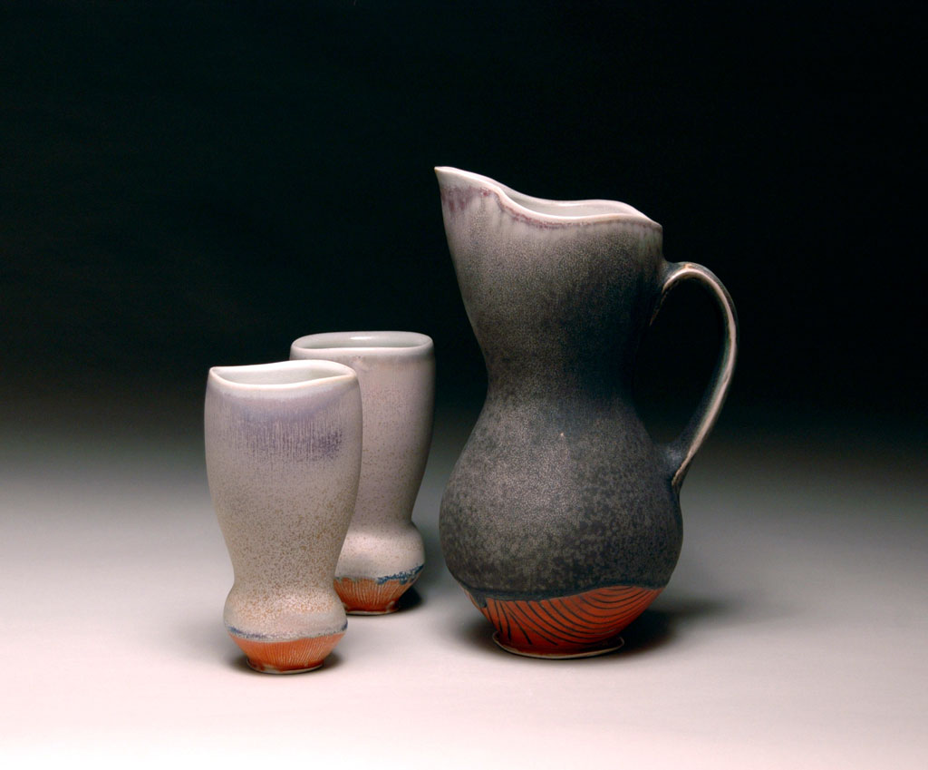 Christopher Melia, Morning Juice Pitcher with Tumblers, 2012. Porcelain, wheel-thrown and altered, soda fired, cone 10