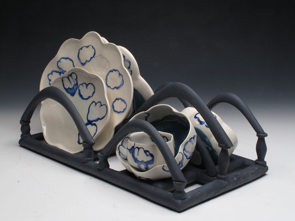 Julia Galloway, Dining with Clouds, 2012. White porcelain with blue inlay slip, gray porcelain tray