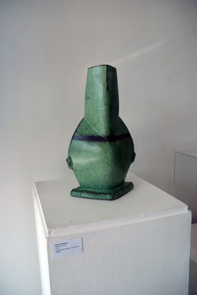 Randy Johnston, Figurative Vase, 2013. Copper green-glazed stoneware, Madison Metro photograph