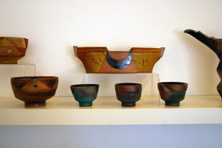 Jeff Oestreich, Bowls, Long Dish, Tea Bowls, Madison Metro photograph