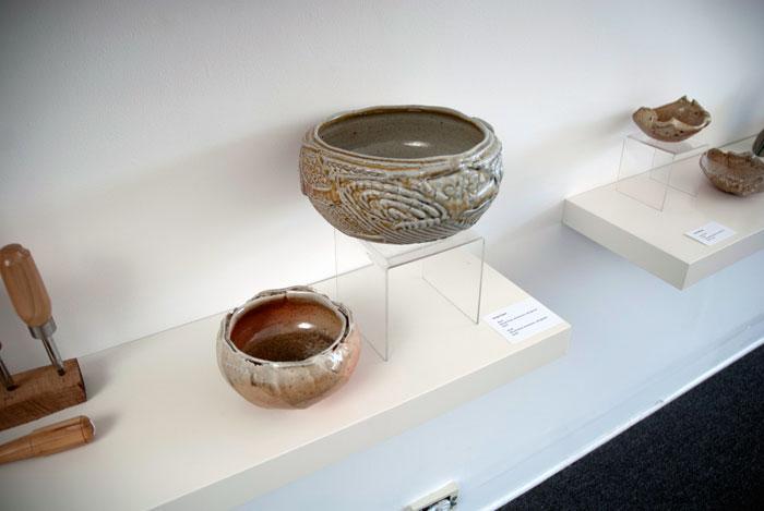 Greg Crowe, Bowls, wood fired, stoneware, salt glazed, Madison Metro photograph