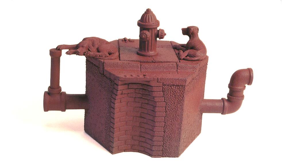 Richard Notkin, Hexagonal Curbside Teapot: Variation #17, 1987