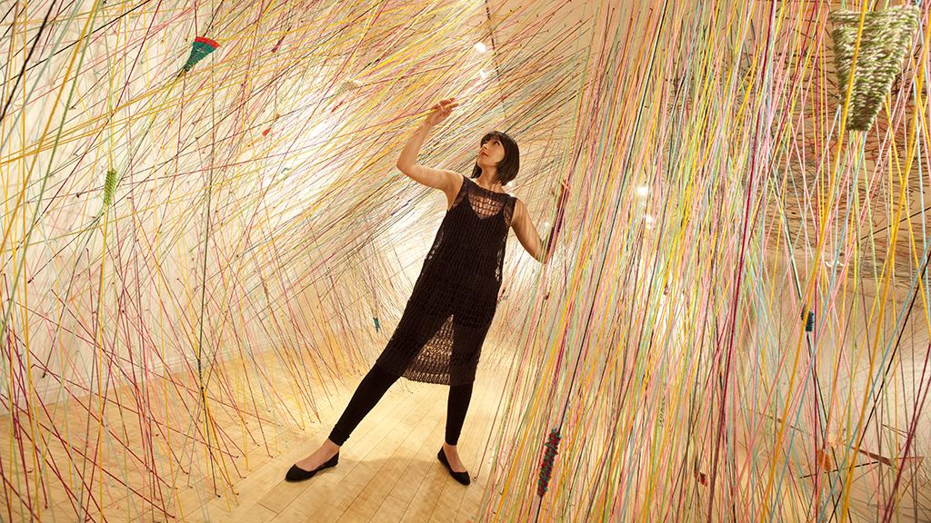 Tanya Aguiñiga in her installation at CAFAM. Douglas Kirkland photograph