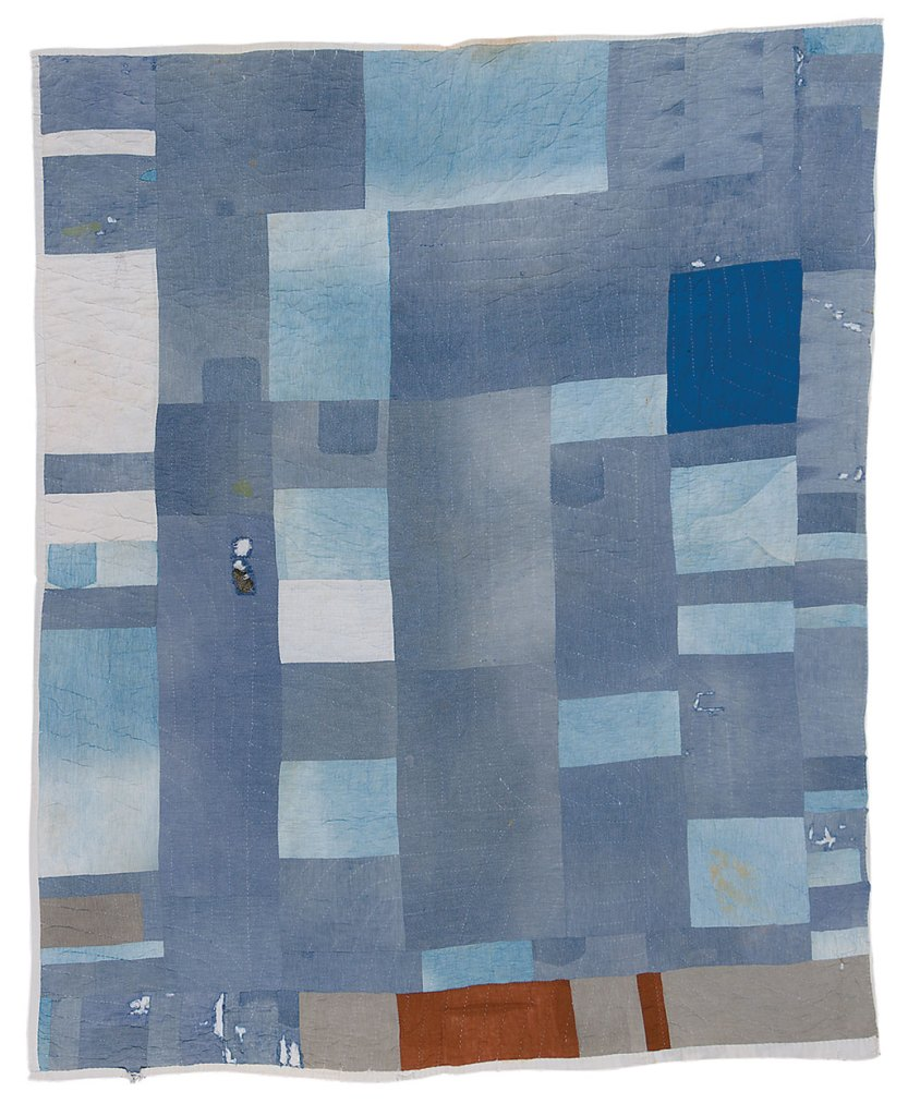 Lucy Mingo, Blocks and Strips work-clothes quilt, Courtesy of Souls Grown Deep Foundation, Stephen Pitkin photograph.