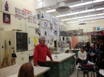 Paul Marioni speaks to students about his work at Fairfax High School Arts Magnet.