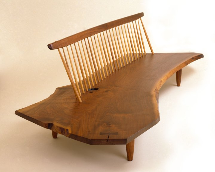 George & Mira Nakashima, Conoid Bench. Courtesy Mira Nakashima and Bob Hunsicker of Pharos Studios