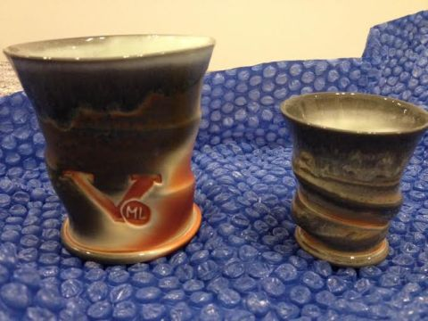Matt Long, Mint Julep Cup and shot glass, soda-fired porcelain