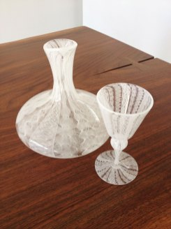 Aya Oki, Pale Laced Pattern, Decanter and Goblet, blown glass