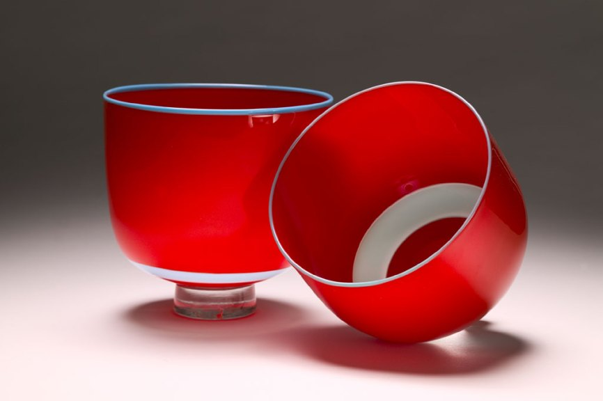 Mark Mitsuda, Red and Blue MotoBowls, 2003-2004. Brad Goda photograph