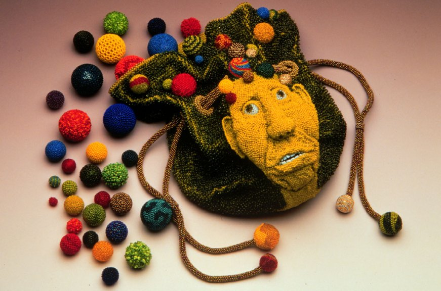 David Chatt, Marble Bag: Hanging on by a Thread, 1998. Larry Stessen photograph