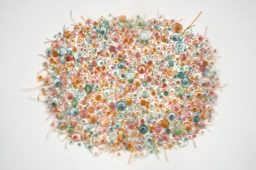 Karyl Sisson, Dizzy, 2016. Vintage paper drinking straws and polymer