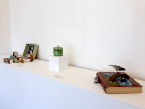 Installation view of California Masters featuring works by Julie Chen, Sandy Simon, and Marilyn Da Silva