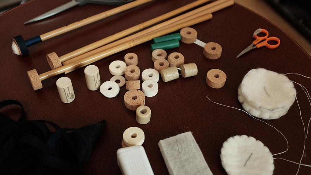Timpani mallet making materials. Mark Markley photograph