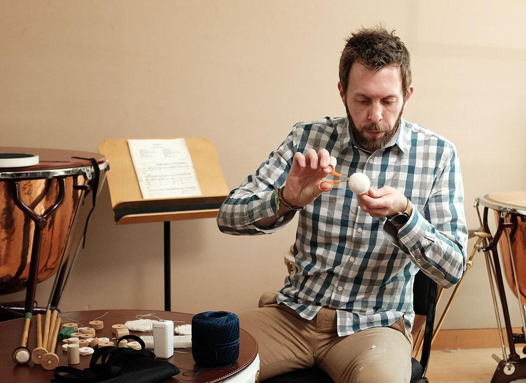 Jason Ginter making a timpani mallet. Mark Markley photograph
