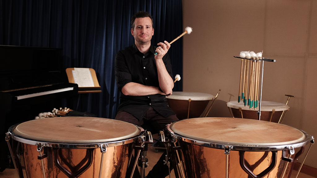 Joseph Pereira at the timpani. Mark Markley photograph