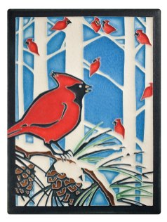 Winter Cardinals holiday tile