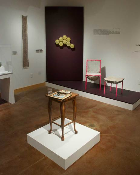 (l-r) Jennifer Reifsneider, For A Sphere With Nine Poles, 2011; Pamina Traylor, Oakland Beeways, 2011; Adrian Clutario, Labejia Series - Chairs, 2012; Richard Shaw, Still Life with Two Landscapes, 2013 (front)