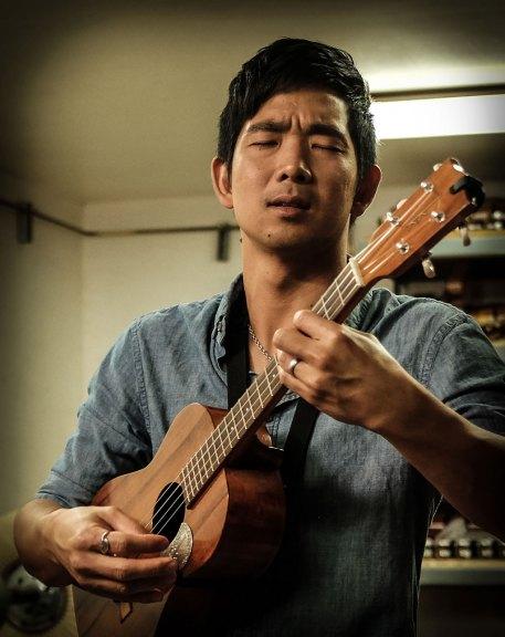 Jake Shimabukuro playing his Kamaka ukulele. Mark Markley photograph