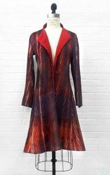Libby O'Bryan, Red shibori coat. Brandon Pass photograph