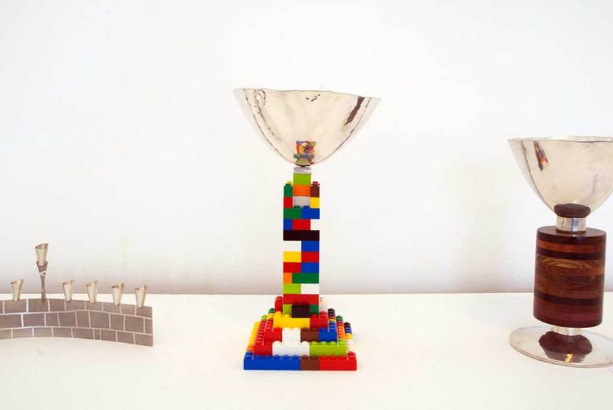 Jim Cohen, Wall Menorah (l), Large Building Block Kiddush Cup (r)
