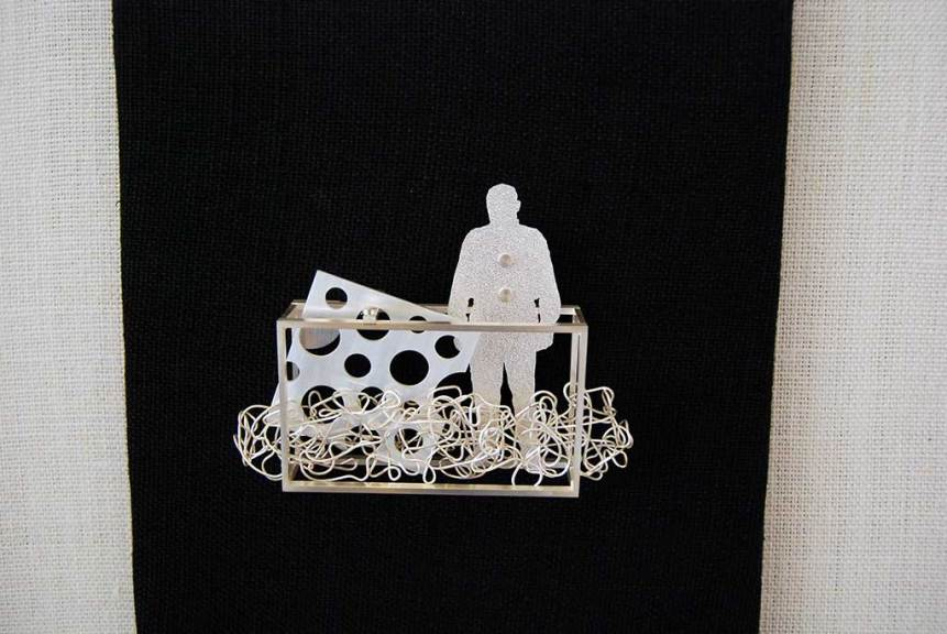 Christina Y. Smith, Califor-Onely, 2015. Sterling silver fabricated brooch