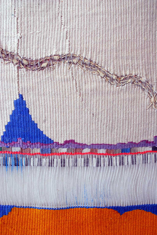 Consuelo Jimenez Underwood, Las 4 Xewum (undocumented), (detail), 2014. Linen warp, silk, linen weft