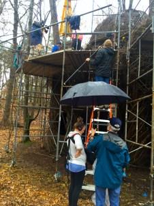 Sid and the crew filming Patrick Dougherty installation in rainy Greensborough, North Carolina.