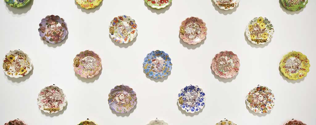 Jessica Putnam-Phillips Onward & Upward, 2014 Porcelain, mishima decoration, underglaze, glaze, Mother-of-Pearl, platinum luster