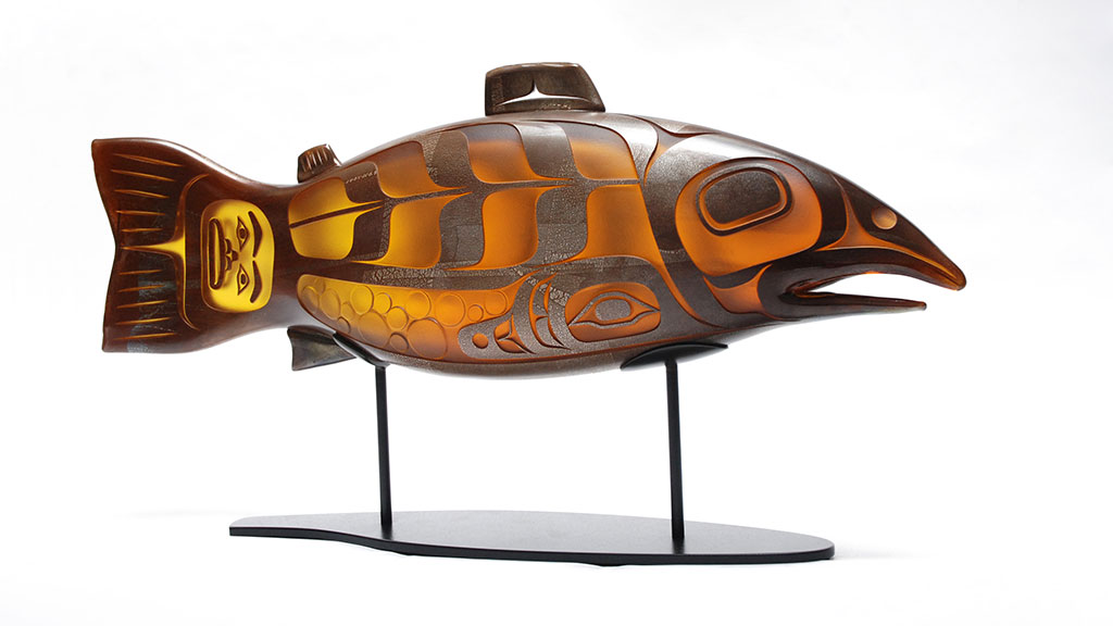 Preston Singletary, Salmon, 2016, glass work, Nature episode