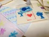 Stamps and prints from Yoshiko Yamamoto's printmaking workshop.
