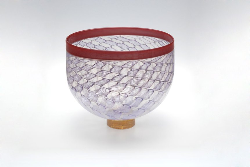 Mark Mitsuda, Grey and Purple Zanfirico Bowl with Scarlet Red Lip, 2016.