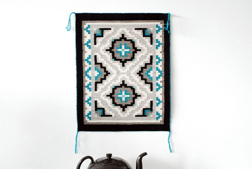 Lynda Teller Pete, In my Mother's Honor, 2016, Textiles, woven on Navajo upright loom, using wool materials for warp and weft.