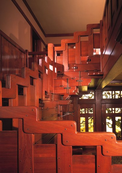 The Gamble House, entry hall stairs. Courtesy of The Gamble House, USC. Photograph © Estate of Mark Fiennes.