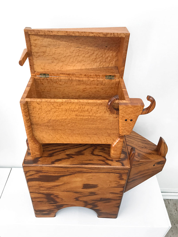 Made to Play, Pamela Weir-Quiton, Buffalo (Box), 1971. Rhino (Box), 1971, Craft in America