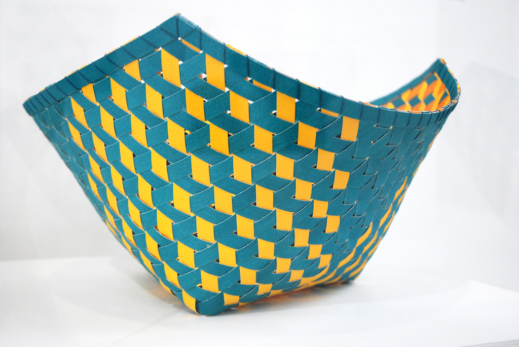 Dorothy McGuinness, Triality 4, 2018. Excellence in Fibers IV, woven basket, Craft in America