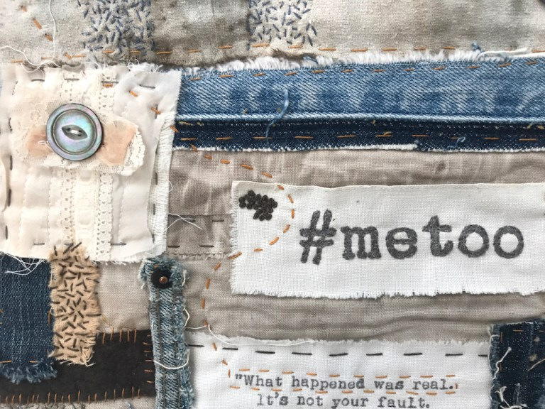 Eva Camacho-Sanchez, #metoo, 2018. Vintage and used wool, cotton, linen fabric, hand-stitching. Excellence in Fibers IV