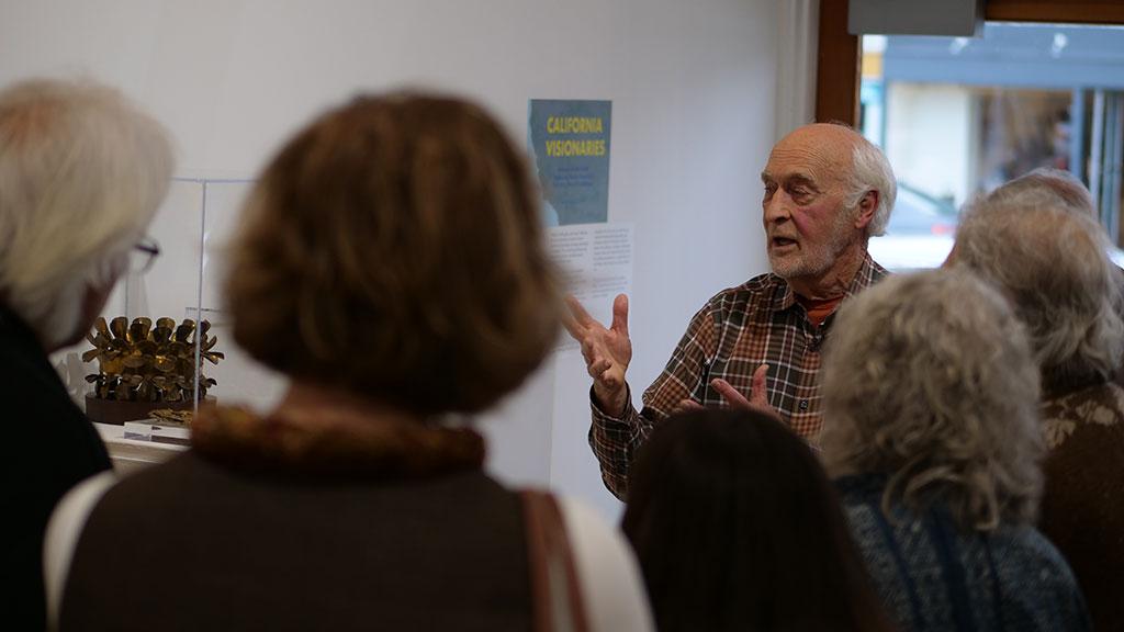 Forrest L. Merrill giving a talk, Collector, California Visionaries