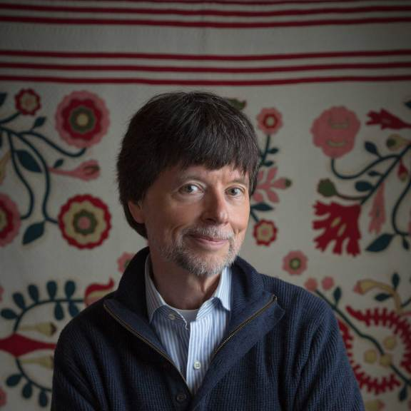 Ken Burns with applique quilt. Photo: Evan Barlow