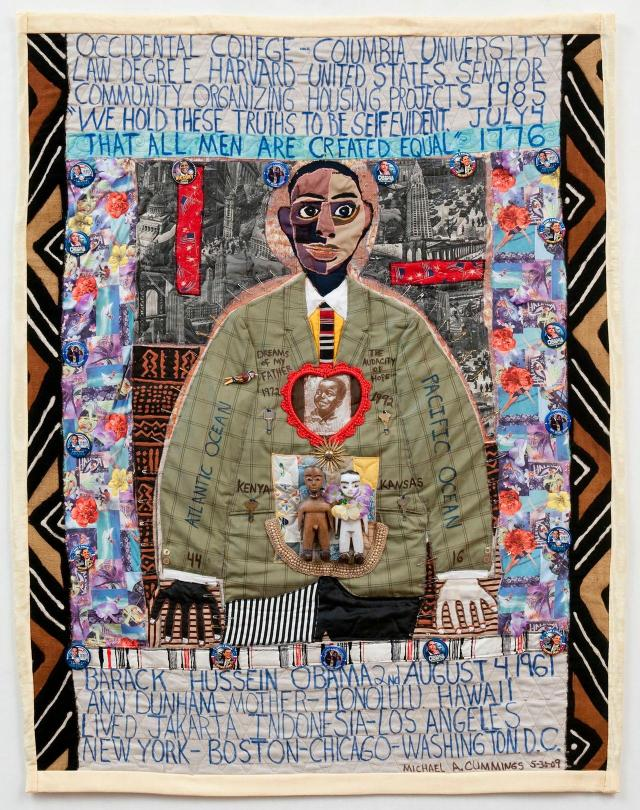 Michael A. Cummings, A Young Obama, 2009. Machine sewn, cotton fabrics. Quilts episode, Craft in America