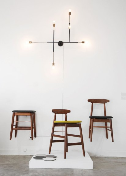 Exhibition display, Neptune Glassworks, Circuit Chandelier. Chris Earl, Stool, High Wood Stool and Sable Chair. Granada Tiles, Solid Hexagons, Tamara Kaye-Honey of House of Honey, Otium, Consume: Handcrafting L.A. Restaurant Design, Craft in America