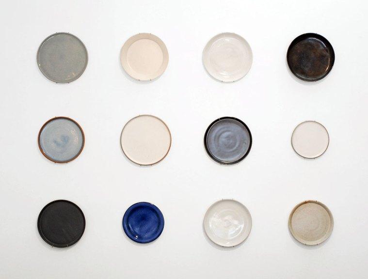 WALL OF PLATES LEFT, Patrick Johnston Ceramics, Irving Place Studio, Mori Onodera, Humble Ceramics, W/R/F Lab, Shoshi Watanabe, bx Ceramics, Consume: Handcrafting L.A. Restaurant Design, Craft in America