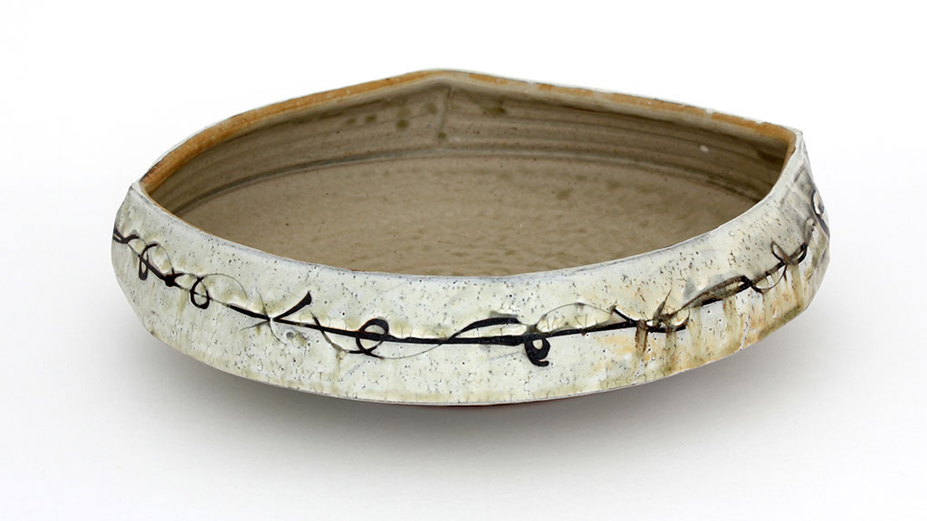 Matthew Krousey, Barbed WIre Bowl. Salt fired stoneware, slips, stains, glaze