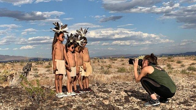 Cara Romero setting up an image, Photographer, IDENTITY, Craft in America
