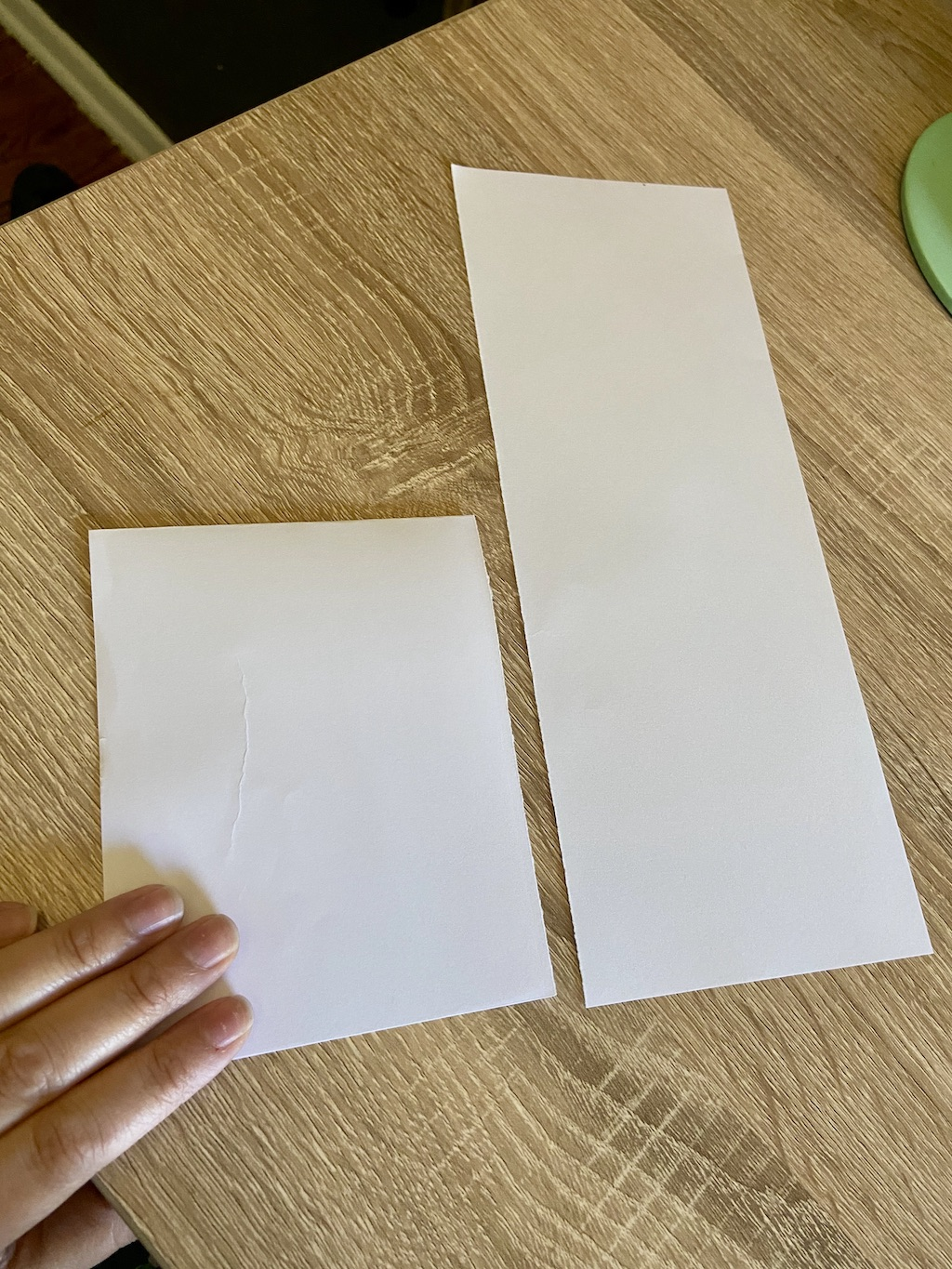 Fold each piece of paper in half widthwise.