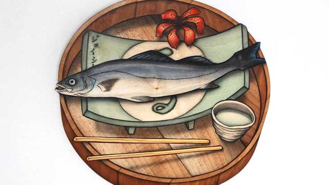 John Cederquist, Taste of Fish, Sweet Smell of Blossom (This is Not Lunch tray series), 2006-2007, Craft in America