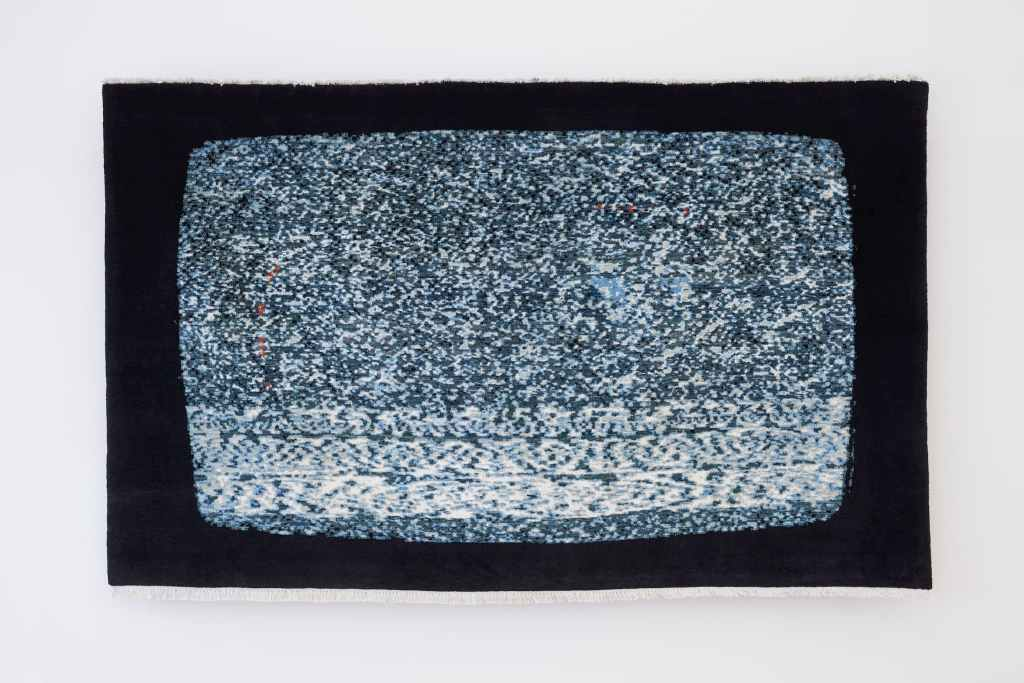 Nicholas Galanin, White Noise, American Prayer Rug, 2018 Craft in America Center Democracy 2020: Craft & the Election